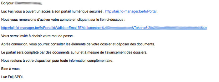 mail invitation validation compte